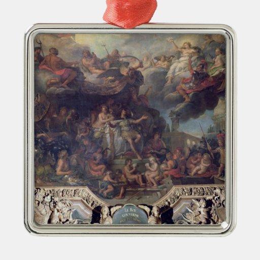 Rey Louis XIV que gobierna solamente Adorno Cuadrado Plateado