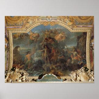 Rey Louis XIV que toma arma en tierra y encendido Posters