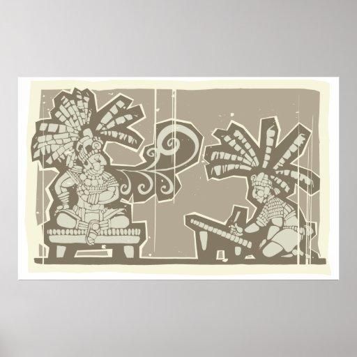 Rey maya A de Woodblock Impresiones