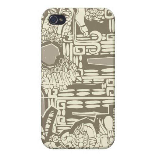 Rey maya B de Woodblock iPhone 4 Funda