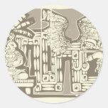 Rey maya B de Woodblock Pegatina Redonda
