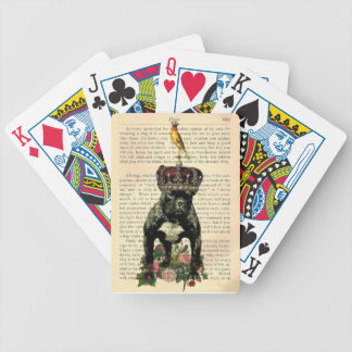 Rey naipes del dogo de la página del libro del vin cartas de juego