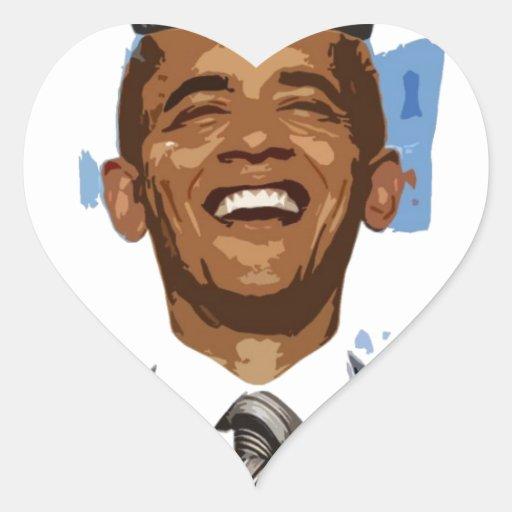 Rey Obama Pegatina En Forma De Corazón