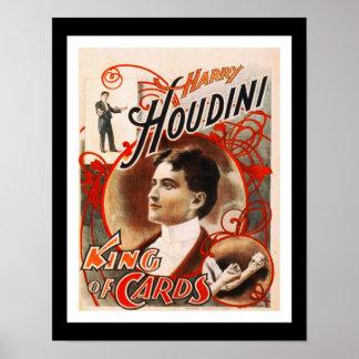 Rey Of Cards de Houdini del vintage del teatro de Póster