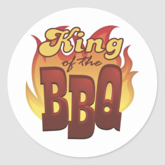 Rey Of The BBQ Stickers Pegatina Redonda