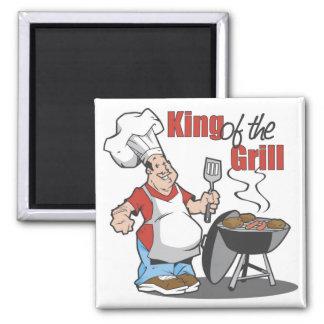 Rey Of The Grill BBQ Gift Imán Cuadrado