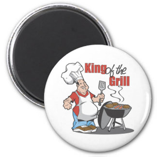 Rey Of The Grill BBQ Gift Imán Redondo 5 Cm