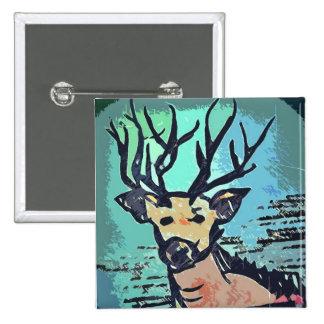 Rey Of The Wood ///ciervo, Deer Button Pin/ Pin Cuadrado