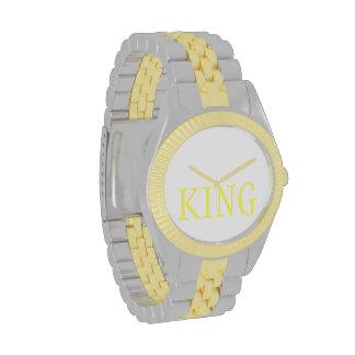Rey oficial Royalty REY reloj del oro y de la pl