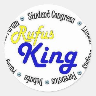 Rey oval redondo Debate/congreso/discurso de Rufus Pegatina Redonda