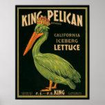Rey Pelican Lettuce Crate Label del vintage del KR Posters