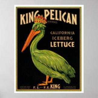 Rey Pelican Lettuce Póster