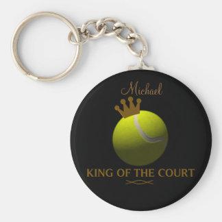 Rey personalizado del llavero del tenis de corte