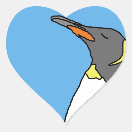 Rey pingüino de sexo femenino pegatina en forma de corazón