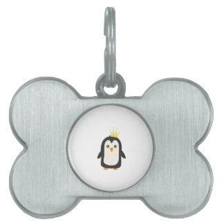 Rey pingüino placa de nombre de mascota