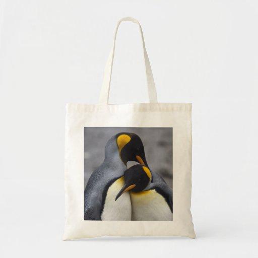 Rey pingüinos en bolso del amor bolsa lienzo