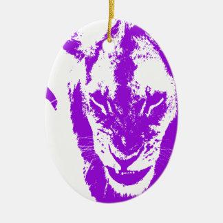 Rey púrpura del león adorno navideño ovalado de cerámica