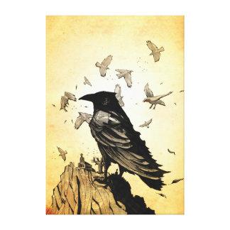 Rey Raven Lienzo Envuelto Para Galerías