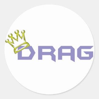 Rey/reina de la fricción pegatina redonda