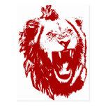 Rey rojo del león postal
