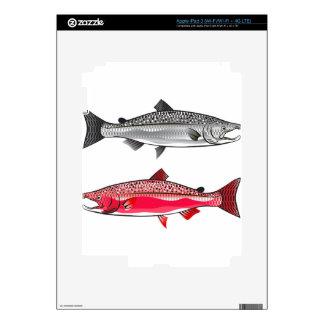 Rey salmón. Plata y freza Pegatinas Skins Para iPad 3