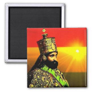 Rey Selassie I Pin (Pin del cuadrado) Imán Cuadrado