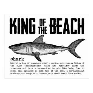 Rey Shark Definition de la playa del vintage Postales