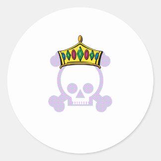 Rey Skull de la reina Pegatinas Redondas