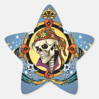Rey Skull Pirate con los corazones por el Al Río Calcomanía Cuadrada Personalizada
