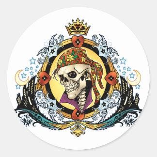 Rey Skull Pirate con los corazones por el Al Río Pegatinas