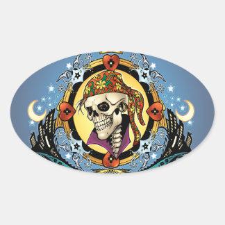 Rey Skull Pirate con los corazones por el Al Río Colcomanias De Ovaladas