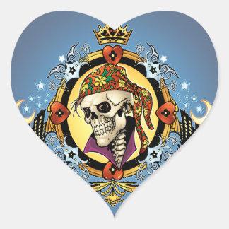 Rey Skull Pirate con los corazones por el Al Río Calcomanías Corazones Personalizadas