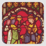 Rey Solomon y la reina de Sheba, c.1270 Calcomanías Cuadradases