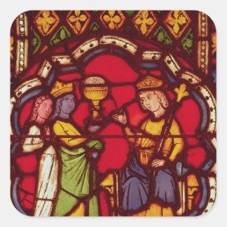 Rey Solomon y la reina de Sheba, c.1270 Pegatina Cuadrada