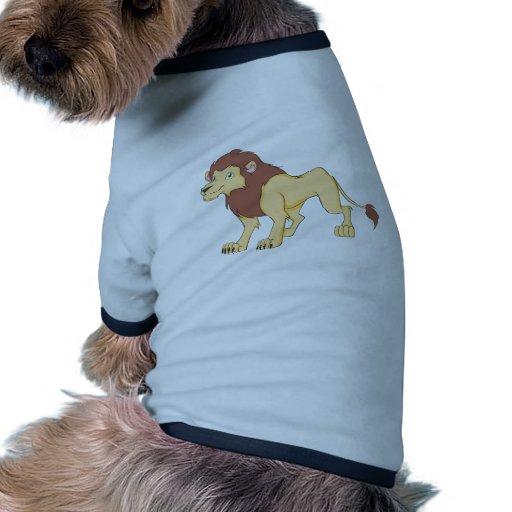 Rey sonriente del león de la camisa de la selva camiseta con mangas para perro