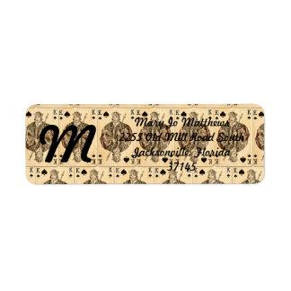 Rey Spades del collage de los naipes del vintage Etiquetas De Remite