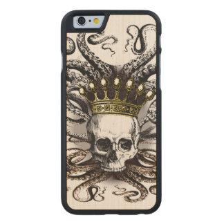 Rey Squid Skull Wood Case Funda De iPhone 6 Carved® Slim De Arce