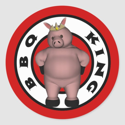 Rey Stickers del Bbq Etiqueta Redonda