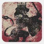Rey Stickers del león del Grunge Pegatinas Cuadradases