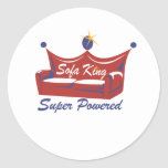 Rey Super Powered del sofá Pegatina Redonda