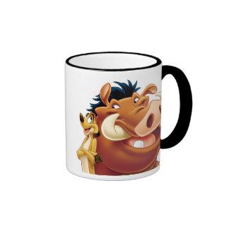 Rey Timon y Pumba Disney sonriente del león Taza De Dos Colores