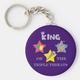 Rey triple Keychain de la amenaza Llavero Redondo Tipo Pin