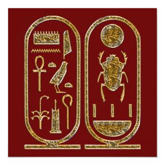 """Rey Tut Hieroglyphics Invitations Invitación 5.25"""" X 5.25"""""""