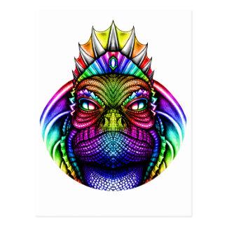 Rey Wearing del lagarto del arco iris una corona Postales