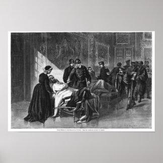 Rey Wilhelm I que visita el hospital Póster