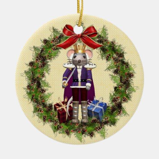 Rey Wreath Round Ornament del ratón Adorno Navideño Redondo De Cerámica