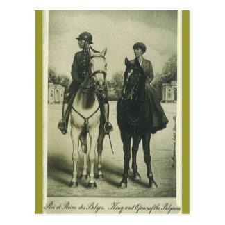 Rey y reina de Bélgica en los caballos #054SS Postal