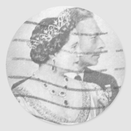 Rey y reina de Inglaterra Etiquetas Redondas