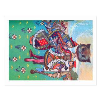 Rey y reina de los corazones y del gato de tarjetas postales