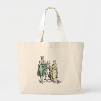 Rey y reina franceses bolsa de tela grande